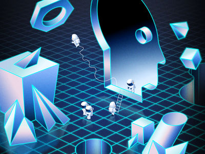 Isobar Future Faces spaceman cosmonaut space suit technology grid future futuristic vector illustration