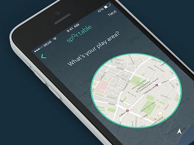 Sportable play area iphone app sports sportable location map picker radius gps ui london ios