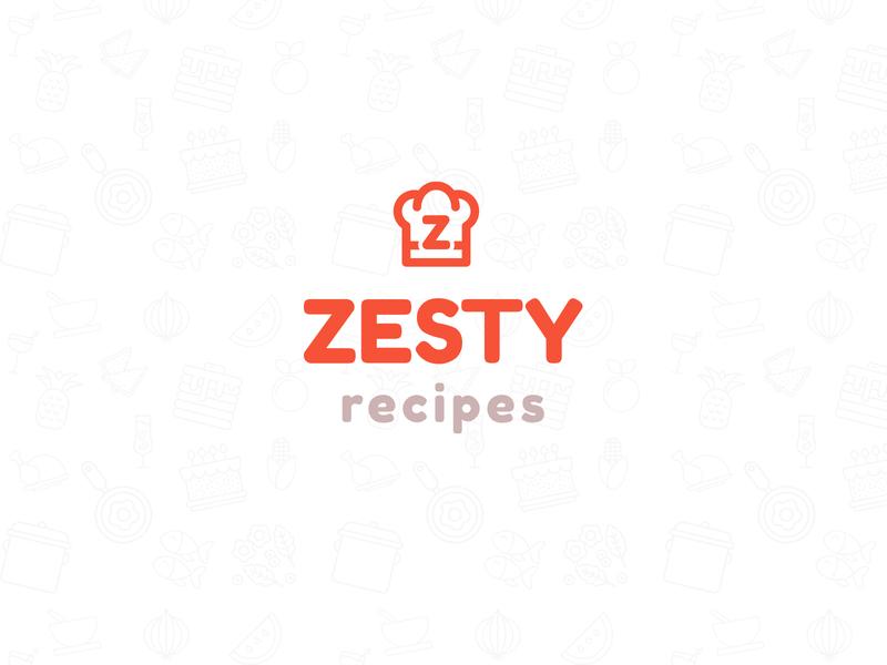 Zesty Recipes Logo branding design clean minimal design orange chef logo food logo