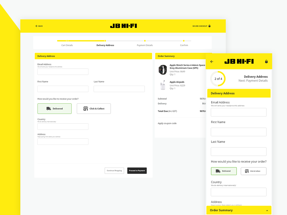 JB HiFi Checkout Mockup pay ecommerce desktop mobile yellow commerce shopping entertainment checkout ux designer ux lifestyle flat ui adobe design clean