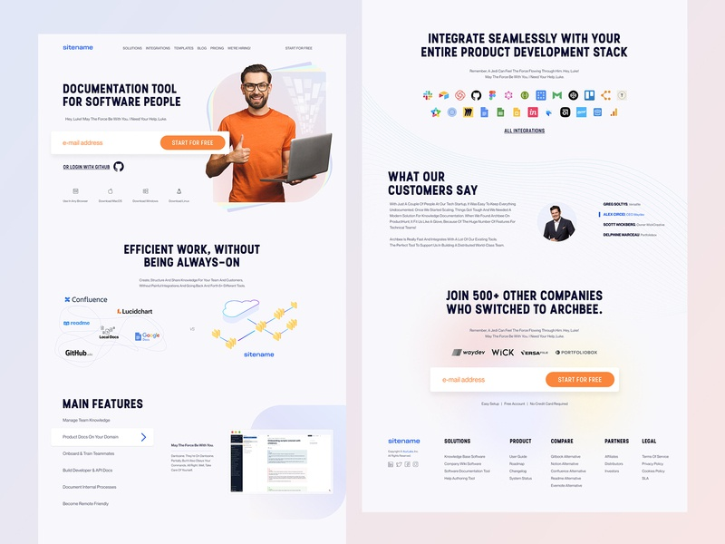 Landing page - work in progress features testimonials saas