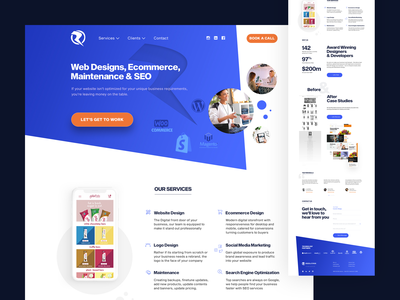 Homepage for web services company woocommerce shopify magento homepage website design