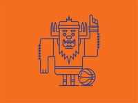 Yeti Basketball Character Illustration