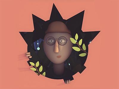 Designer-Cave designer logo 3d portrait c4d