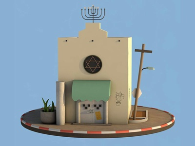 Synagogue street israel tel aviv illustration c4d 3d