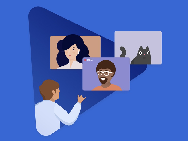 Roundee - Meetings that matter illustration call easy cat recording play video call meetings
