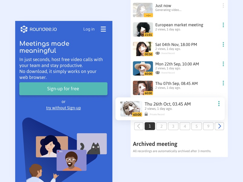 Video Conference Exploration ui figma mobile product website product landing page product design landing page