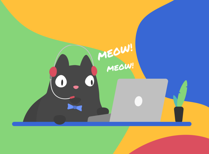 How can I helpz u? support identity customer support cat illustration