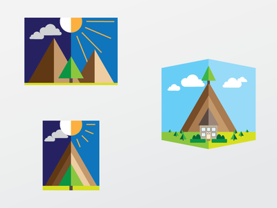 Rejected Landscape Icons day and night green scenery mountain icon logo rejected landscape