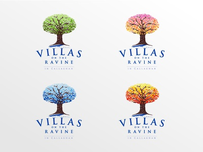 Villas on the Ravine colorful ravine tree seasonal logo circles dots pointillism