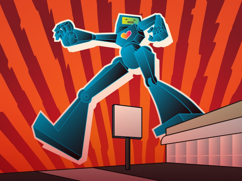 Robot Jazz red blue drawing perspective robot