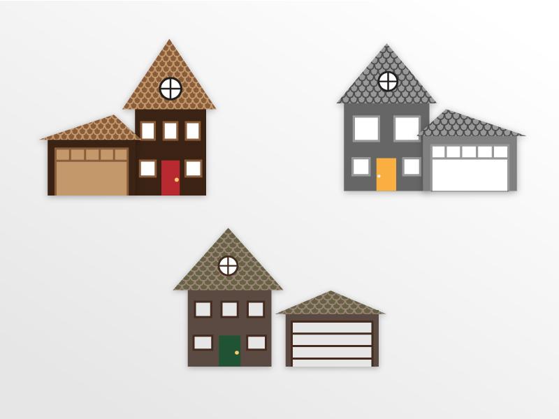 Simple Houses garage home flat rudimentary simple house