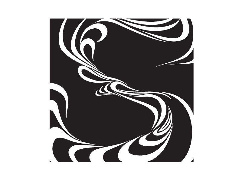 Rejected 'S' form black and white curves s monogram