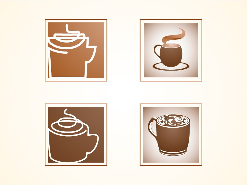 Coffee Icons mocha brown contained square icons coffee