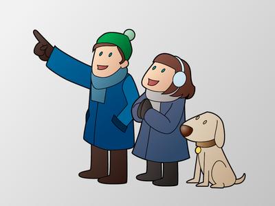 Some kids and their dog flat pointing girl boy dog winter children kids
