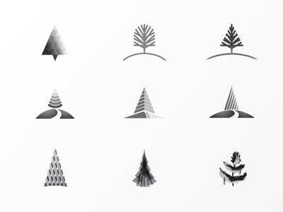 Rejected Trees modern hill pine minimal abstract outdoor comps logo trees rejected
