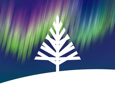 Rejected Aurora pink magenta green blue hill logo sky aurora tree minimal rejected