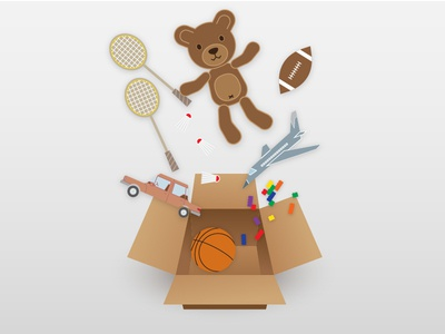 Toys in a Box cardboard box falling teddy bear box toys