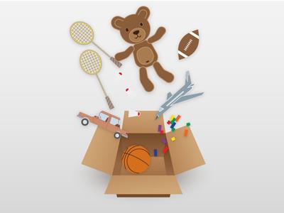 Toys in a Box cardboard box falling teddy bear box toys