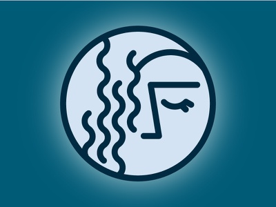 New Moon Icon face blue fat line lines minimal icon moon