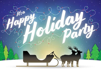 Rejected Holiday Party Invite winter blue string of lights reindeer vector art starry sky xmas christmas invitation invite holiday party holiday sleigh