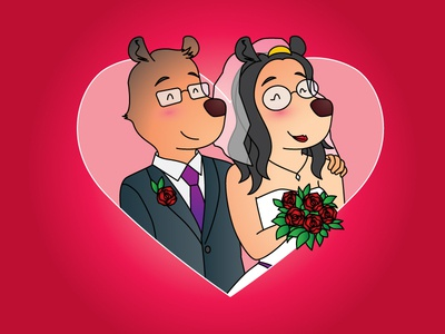 Bears for Karen quick cartoon cute couple bears wedding newlywed