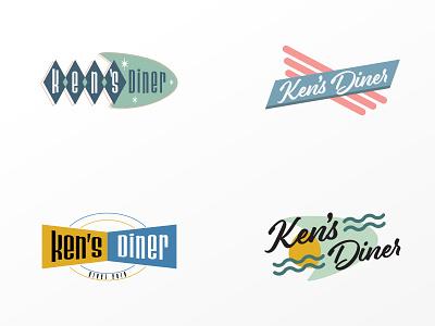 Rejected Ken's Diner logo restaurant identity branding identity logo retro design greasy spoon diner 50s 50s diner rejected logo rejected