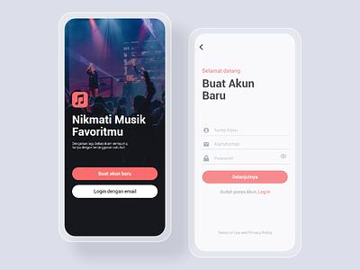 Login Music Player Concept - UI Mobile illustration ui design mobile app design mobile ux ui design app