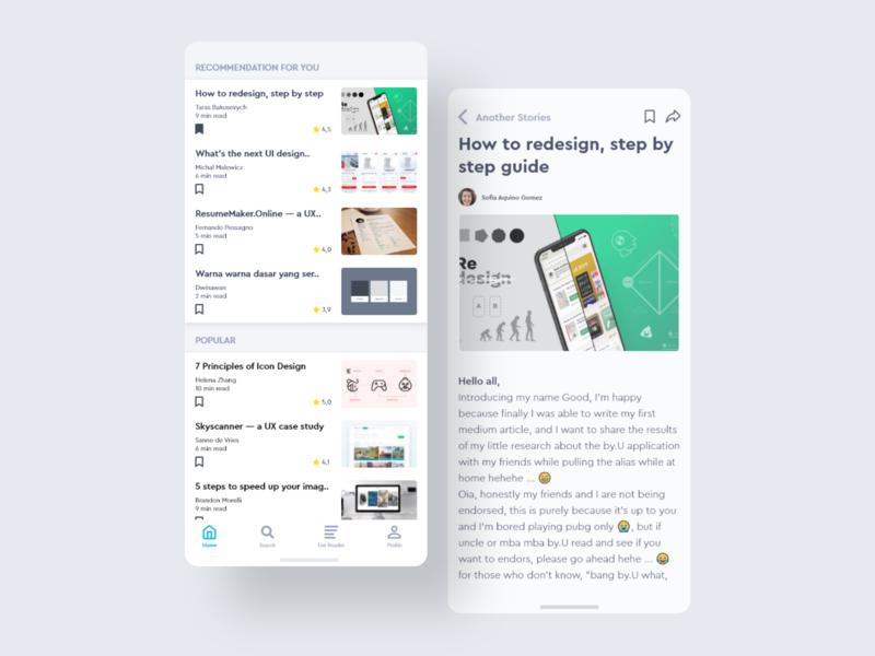 Reading App UI Concept icon typography app design ui design minimal mobile app design mobile ux ui
