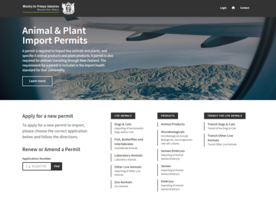Animal & Plant Import Permits — App mpi importing animals angular app ux ui