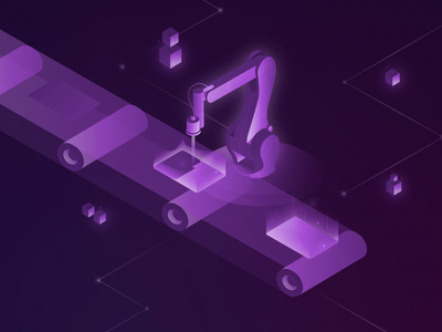 Isometric Illustration - Laser Cleaning production arm technical laser purple isometry isometric