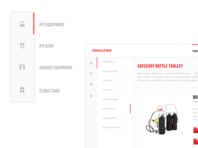 Caseliner - Product catalog icons equipment car motorsport moto caseliner clean ui ux web design clean web