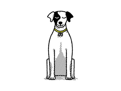 Loca  foxterrier dog halftone illustration