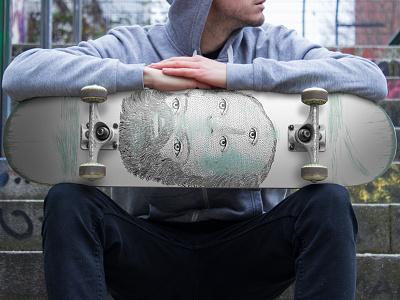 Skateboard mockup skateart deck skate board template mockup skateboard