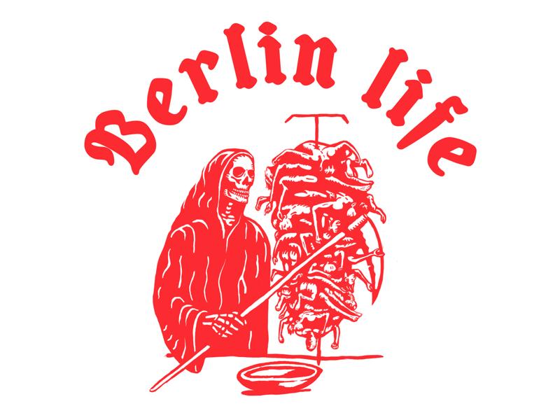 Berlin Life reaper illustration kebab skull berlin