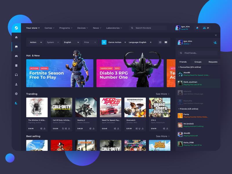 Steam App - Game Platform interface clean redesigned trends dark app dark ui marketplace store games gamestore design dashboard app steam ux uiux ui redesign