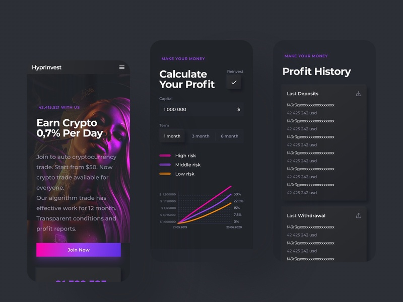 HyprInvest  Cryptocurrency Exchange clean interface design dark black exchange token bitcoin cryptocurrency crypto