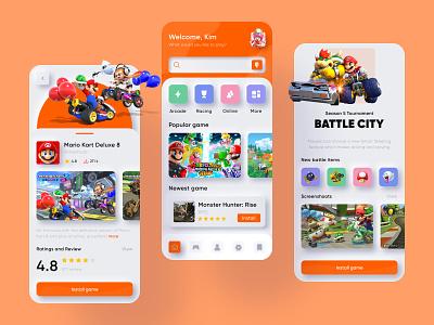 Game Store App clean uidesign app design mariokart nintendo mario mobileapp games gameapp ui app store app store game