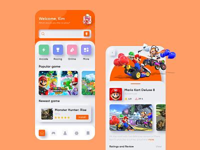 Game Store App design app clean nintendo mario mobile app mobile gamestore game app store game uidesign design ui