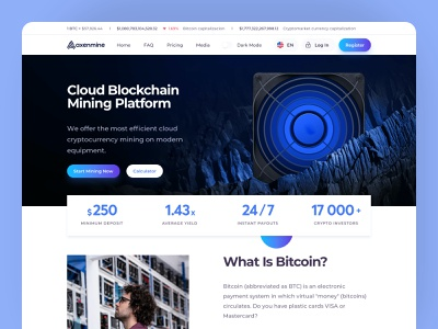 Crypto Mining Platform cryptocurrency crypto trends clean uidesign uiux interface homepage ux design ui