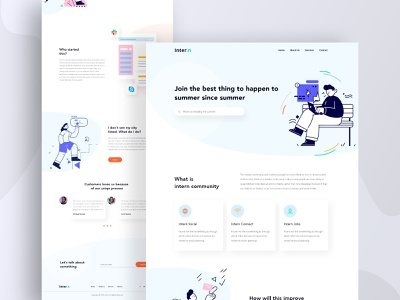 Intern Landing Page internship ux uidesign illustraion community website design user experience tranding 2020 trend home page landing page clean interface web design webdesign website minimal creative agency