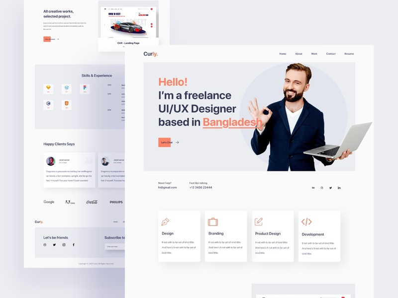Curly - Personal Portfolio Website design portfolio personal brand dailyui services freelancer trends web web design ui homepage landing page interface website creative personal startup landingpage webdesign agency