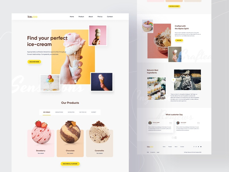 Ice.coo Landing Page foodie trends popular shot dailyui restaurant store startup icecream food and drink web design homepage minimal food interface landing page creative web website webdesign agency