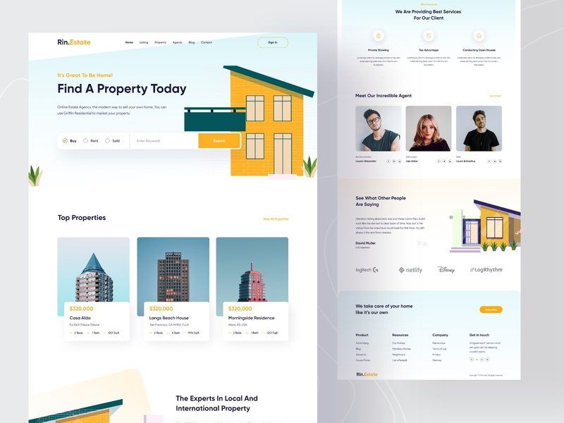 Real Estate Landing Page V2 layout websites home rent uidesign popular shot real estate agency real estate architecture trendy best shot startup web design illustration web landing page minimal interface website webdesign agency
