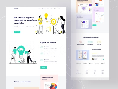 Agency Landing Page ui design dailyui illustration studio popular design best shot trends twinkle digital agency startup homepage web design uidesign interface creative landing page web webdesign website agency