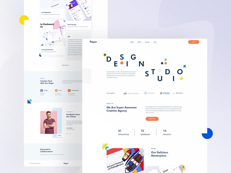 Paper - Design Studio web design landing page design landingpage userinterface uidesign ux ui digital agency clean ui studio web clean landing page webdesign interface minimal website creative design