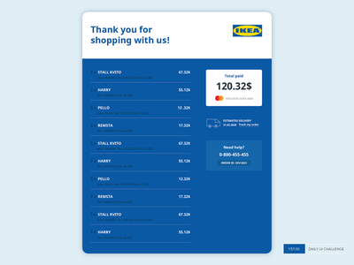 Hi Ikea, I've fixed your e-mail receipt buy shopping delivery furniture price ui mastercard dailyuichallenge dailyui receipt ikea