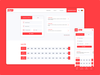 Homepage redesign for a public transport network route search trolley tram bus romanian red ui ux responsive website responsive mobile app transport homepage romania stbsa