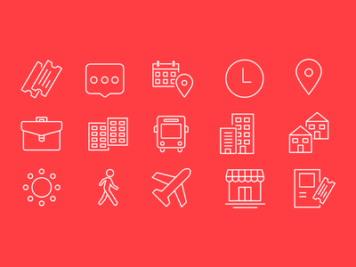 Public Transport Icons set minimal line app redesign case study stbsa red public transport public icons