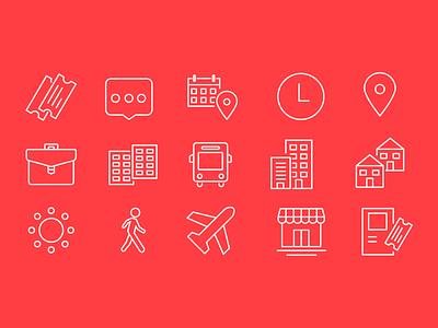 Public Transport Icons set minimal line app redesign case study stbsa red public transport public icons